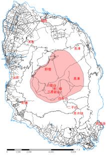 「伊豆大島火山航空レーザ測量データ」データ取得範囲